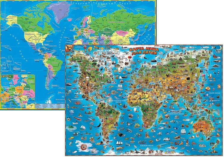 Купить детскую карту мира